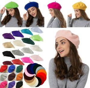 Beret Hat Plain Wool Autumn Women Girls Fashion Hats French Beanie Winter UK