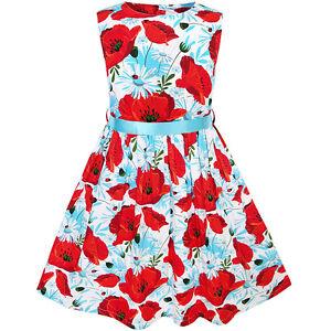 5994390178c Girls Dress Red Flower belt Sundress Summer Beach dress Age 2-10 ...