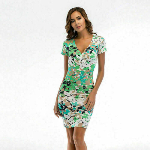 Women Short Sleeve V Neck Floral Bodycon Casual Party Evening  Dress