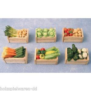 SA-dollshouse d1019 Boîte avec légumes (6 Pièces) 1:12 pour maison de poupée NOUVEAU! #  </span>