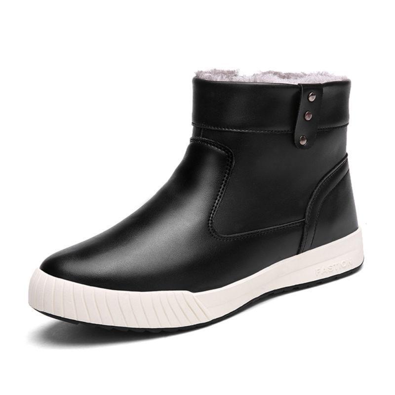 Men's Winter Fur Lining Ankle Warm Side Zipper Waterproof Leather Snow Boots @T2