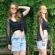 VINTAGE 90's Black Sheer Tie Front Crop Top Blouse 8 10 12 Shirt Grunge Boho