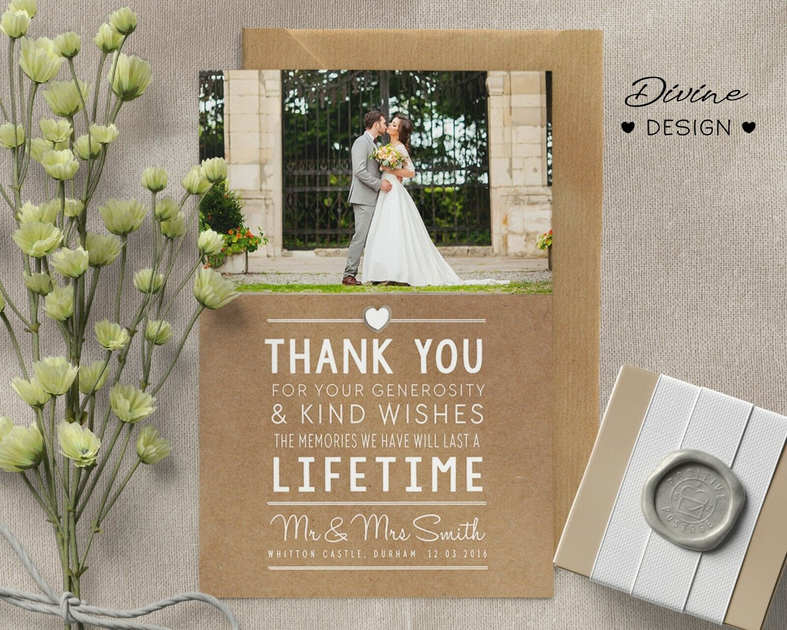 Personalised Wedding Thank You cards inc Envelopes Envelopes Envelopes + Photo 654f24