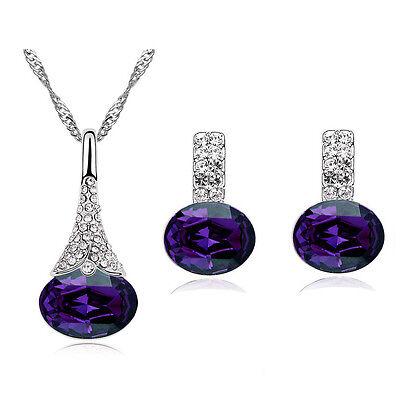 Elegant & Shiny Purple Jewellery Set of Stud Earrings and Necklace Pendant S370
