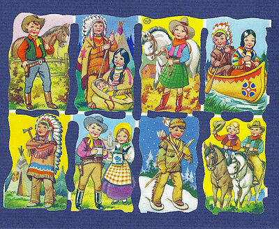 Lot of 8 vtg SCRAPs Dressed Animals COWBOY + COWGIRL + INDIAN Canoe BOAT set MLP
