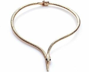Damen Schlangen Collier Vergoldet Kette Choker Gold Reif Mode Tier