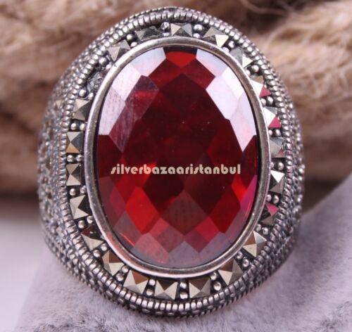 Joyería Turco Hecho a Mano Rojo Rubí Piedra 925 Sterling Silver Anillo de Hombre Seleccionar el Tamaño