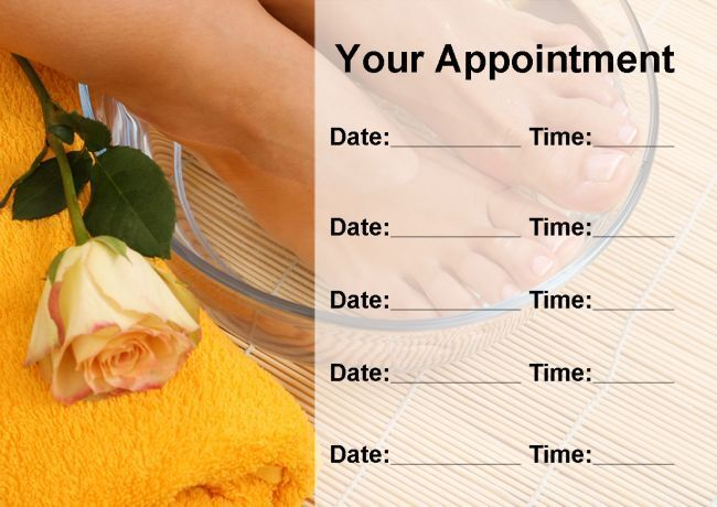 Beauty Salon Spa Treatment Pedicure Nails Personalised Appointment Cards