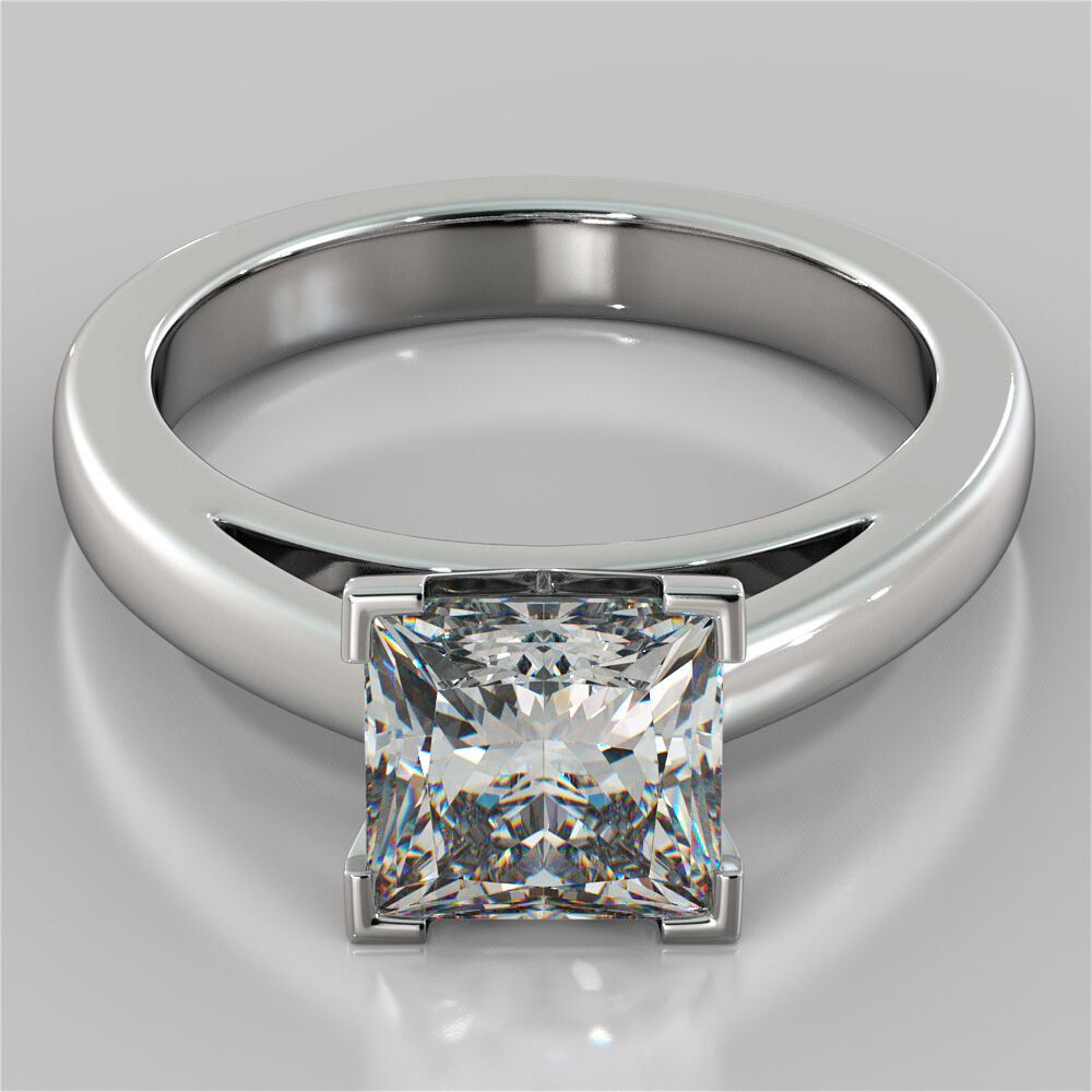 Princess Cut Cathedral Style Engagement Ring in 14K White gold