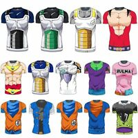 Dragon Ball Z Mens Short Sleeve T-Shirt Goku Vegeta Super Saiyan Jersey GYM Tops