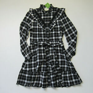 NWT-Kate-Spade-New-York-Rustic-Plaid-Flannel-in-Black-Ruffle-Shirt-Dress-L-248
