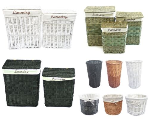 Wicker Rectangle Laundry Basket Washing Bin Lidded With Laundry Word on Lining