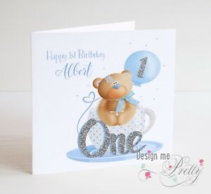 PERSONALISED Baby Boy Toddler Cute Teddy Bear Birthday Card