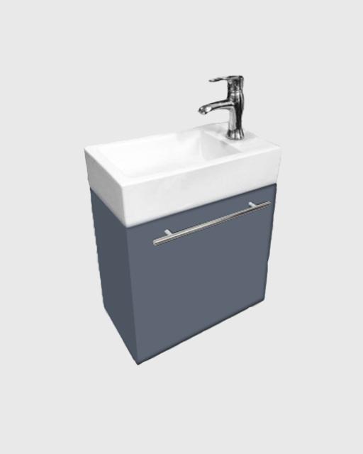 Modern Gray Wall Mount Bathroom Vanities White Sink Vanity With Towel Bar 18inch