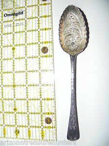 """Ornately Detailed Scalloped English 9"""" Sterling Serving Spoon Butterfly/Flowers"""