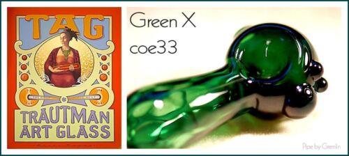 """Trautman Art Glass /""""Green x/"""" Boro//ak33 °"""