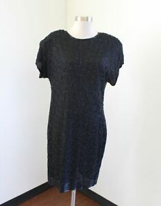 Vtg-Stenay-Black-Silk-Beaded-Sequin-Swirl-Cocktail-Party-Dress-Formal-Size-10