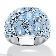 BLUE OPAL CRYSTAL CLUSTER SWAROVSKI STAINLESS STEEL RING SIZE 6 7 8 9 10