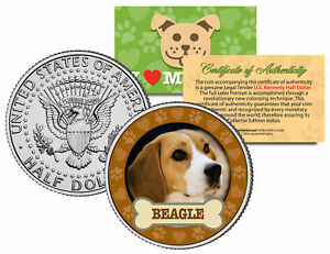 BEAGLE-Dog-JFK-Kennedy-Half-Dollar-US-Colorized-Coin