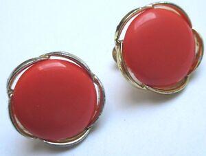100% De Qualité Boucles D'oreilles à Vis Bijou Vintage Couleur Or Cabochon Orange Lisner 122