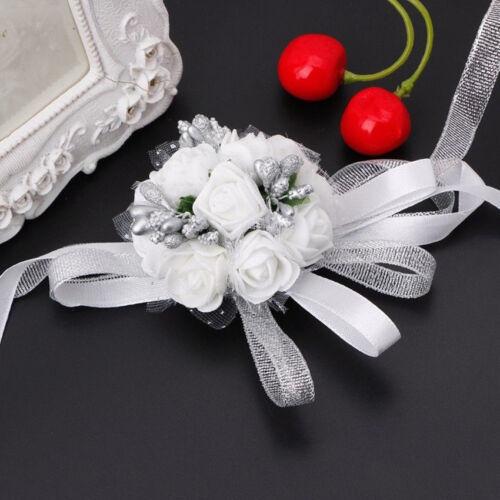 DIY Wedding Bridesmaid Prom Party Wrist Corsage Pearl Bracelet Hand Wrist Flower