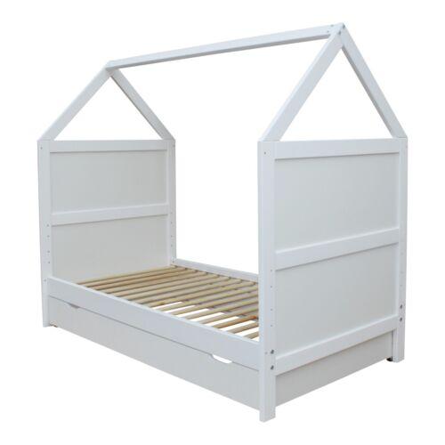 Babybett Kinderbett Juniorbett Bett Haus 140x70 cm umbaubar mit Schublade weiss