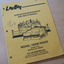 Leeboy 1000b Paver Parts Owner Operator Operation Maintenance Manual Book List