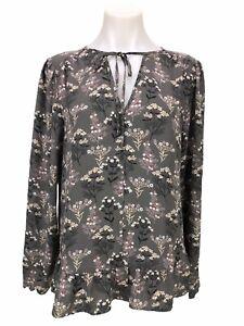 Loft-Women-s-Blouse-Top-Size-M-Medium-Long-Sleeve-Floral-Ruffle-Hem-Tie-Neck