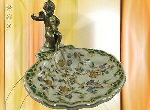 Seifenschale-Porzellan-Messing-Gold-gruen-Vintage-Bad-Deko-Geschenk-Nostalgie