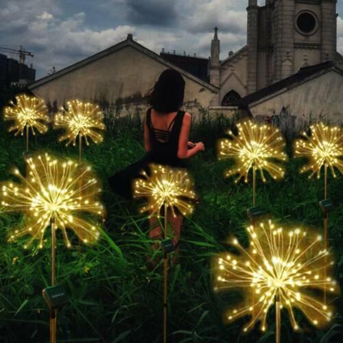120 LED Solar Lampe Feuerwerk Lichterkette Starburst Gartenstecker Landschaft