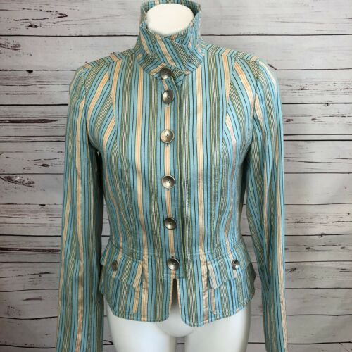 CARLISLE Womans Silk Striped Jacket SIZE 8 Pastel