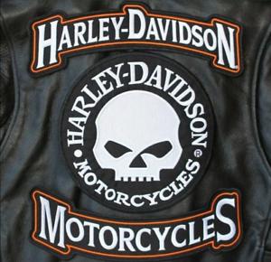 HARLEY ROCKERS WILLIE G. SKULL Motorcycle Jacket Vest BACK PATCH large 3pc. Set