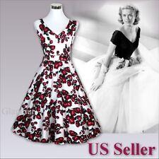 50s Style Women's V-Neck Wedding Bridesmaid Retro Pinup Swing Dress