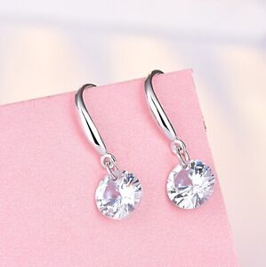 Crystal-Stone-Drop-Hook-Stud-Earrings-925-Sterling-Silver-Womens-Girls-Jewellery