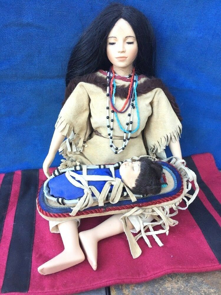 Sacajawea Porcelain doll w Papoose Baby Indian Hamilton Collection David Wright