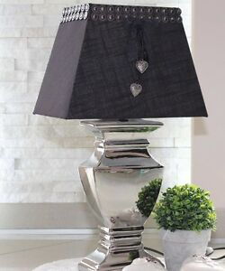 tischleuchte 52 cm xl stehlampe keramik silver platet silber lampe shabby chic ebay. Black Bedroom Furniture Sets. Home Design Ideas