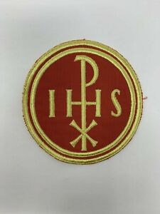 Liturgical IHS PX Cross Emblem Embroidered Patch Sew On for Vestment 1 Piece