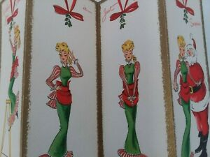 UNUSED-Vtg-LADY-Hangs-MISTLETOE-amp-KISSES-SANTA-4-Fold-CHRISTMAS-GREETING-CARD