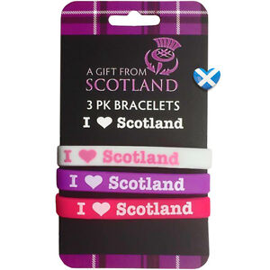 SCOTLAND Silicone Wristband x 3 PINK PURPLE Teenager Adult Scottish Saltire Flag