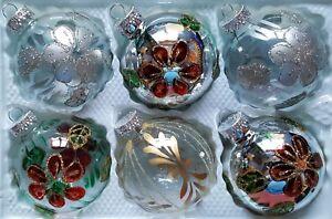 6X-Pintado-a-Mano-Arbol-de-Navidad-Adornos-Cristal-Plata-amp-Brillo-Claro-Diseno