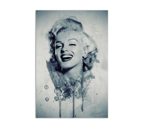 Marilyn Monroe Portrait 90x60cm Leinwandbild Vintage Aquarell Wandbilder CaroArt