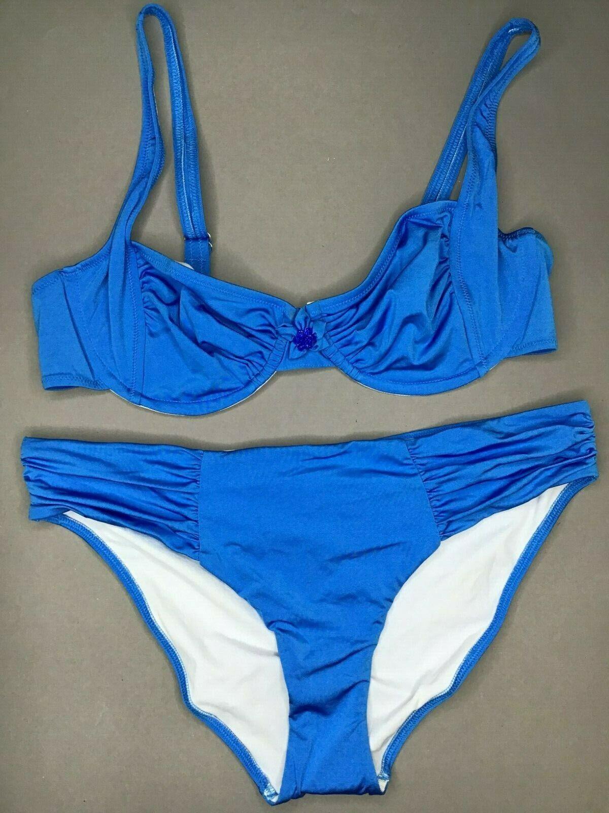 Jolidon Womens Bikini Set F2135 ungepolstert Underwired Blue NEW