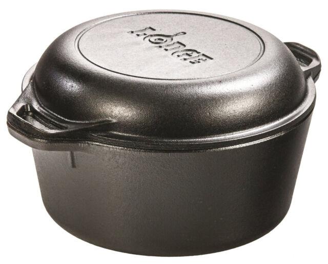 5 Qt Cast Iron Dutch Oven Pre-Seasoned Pot Skillet Cover Cookware Lodge New