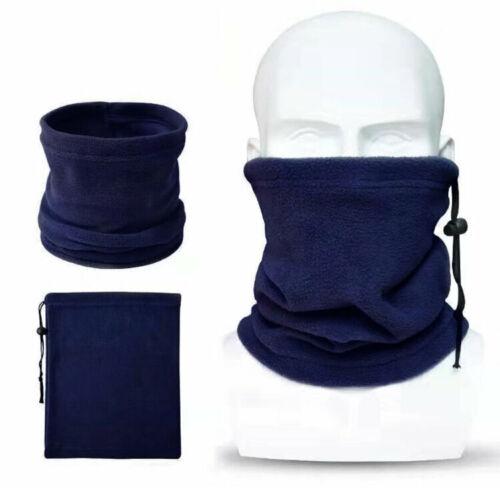 Blue Polar Fleece Full Length Neck Gaiter with Adjustable Drawstring