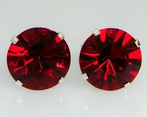 (3mm - 10mm) Crystal Siam Red Sterling Silver Earrings Using Swarovski Elements