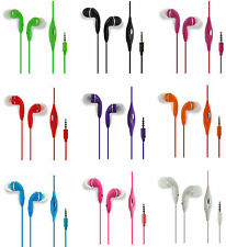 3.5mm Stereo Handsfree Headset Headphones Earbud In-Line Mic -9 Colors Available