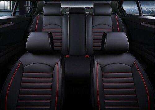Schwarz Sitzbezüge mit roter Naht Kunstleder Schonbezüge Elegant Komplett Set