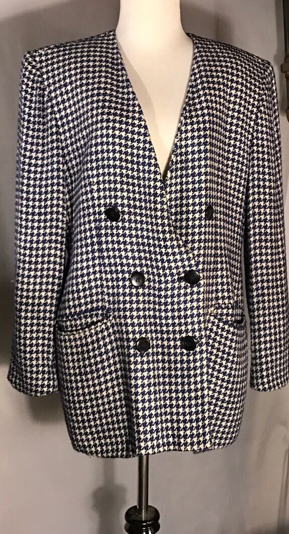 Jacobsons bluee And White Blazer Fits Like A Large Or Extra Large