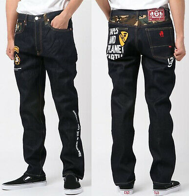 2019 A//W A BATHING APE Men/'s AAPE JEANS Logo Denim Pants From Japan New