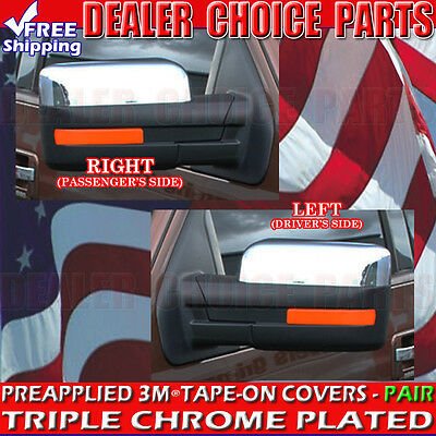 CHROME SIDE MIRROR TOP HALF COVERS COVER FOR 2009-2014 Ford F-150